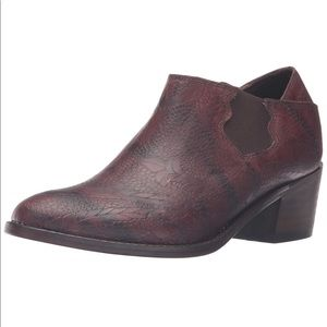 Burgundy Wine Floral Leather Oxford Bootie